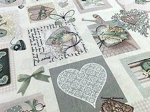 Textil - Bavlna režná - Lavanda - šedo zelená - 8007956_