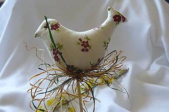 Dekorácie - Vtáčatká floral - zápich - 8009939_