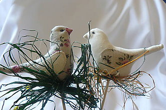 Dekorácie - Romantické vtáčatká - zápich - 8009992_