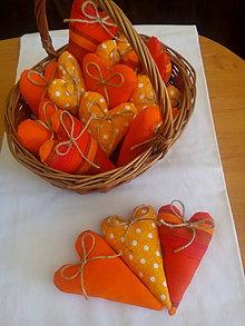 Dekorácie - oranžové srdiečka - 8007506_