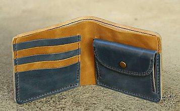Tašky - Kožená peňaženka VI. modro-svetlohnedá - 8009890_