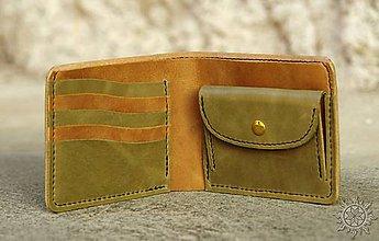 Tašky - Kožená peňaženka VI. olivovo-svetlohnedá - 8009897_