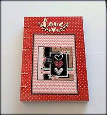 Papiernictvo - Ručne šitý zápisník/denník/diár/notes/sketchbook/svadobný plánovač ,,Love\