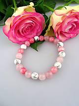 ruženín magnezit jadeit náramok z ružového kríčka