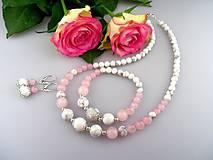 Zo starého sveta - ruženín, striebro, magnezit náhrdelník náramok náušnice - súprava