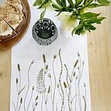 Úžitkový textil - Štóla na stôl - ručne kreslená - trávy - 8006969_
