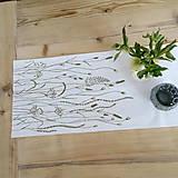 Úžitkový textil - Štóla na stôl - ručne kreslená - trávy - 8006970_