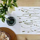 Úžitkový textil - Štóla na stôl - ručne kreslená - trávy - 8006974_
