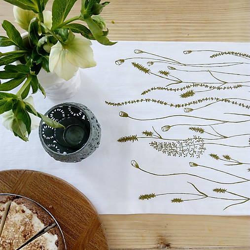 Štóla na stôl - ručne kreslená - trávy