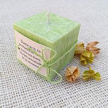 """Svietidlá a sviečky - Palmová sviečka - kocka """"zelený čaj"""" - 8008189_"""