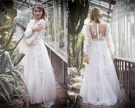 Šaty - Šifónové s dlhým rukávom a krajkou,,Focus wedding,, - 8007539_