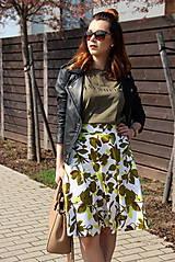 Sukne - Kruhová sukňa - zelené kvety - 8010171_