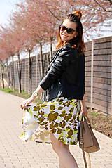 Sukne - Kruhová sukňa - zelené kvety - 8010172_