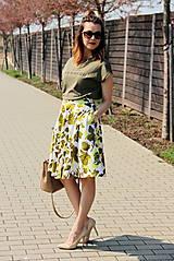 Sukne - Kruhová sukňa - zelené kvety - 8010173_