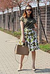 Sukne - Kruhová sukňa - zelené kvety - 8010174_