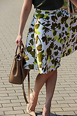 Sukne - Kruhová sukňa - zelené kvety - 8010175_