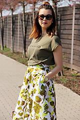 Sukne - Kruhová sukňa - zelené kvety - 8010176_