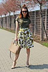 Sukne - Kruhová sukňa - zelené kvety - 8010177_