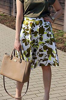 Sukne - Kruhová sukňa - zelené kvety - 8010178_