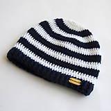 Detské čiapky - Háčkovaná pruhovaná čiapočka - námornícka - 8010132_