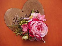 Ozdoby do vlasov - Ružovo- cyklamenová kvetinová sponka - 8009990_