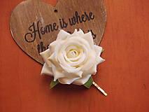 Ozdoby do vlasov - Sponka s bielou ružou - 8010062_