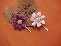 Ozdoby do vlasov - Sponka s fialkovými kvetmi - 8010093_