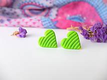 Náušnice - Náušnice srdce limetkové - 8011422_