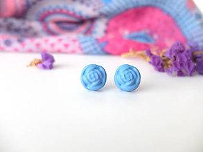 Náušnice - Ruže modré - 8011365_