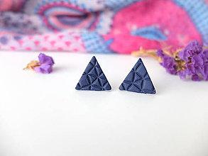 Náušnice - Trojuholníky napichovačky tmavomodré - 8011388_