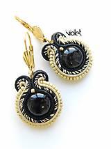 Náušnice - Business Black&Gold II - 8011100_