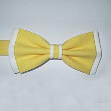 Doplnky - motýlik pánsky žlto biely - 8012954_