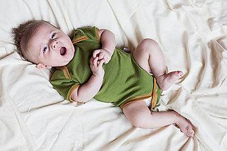 Detské oblečenie - Rostoucí 100% merino body krátký rukáv 62-68/74 - 8013123_