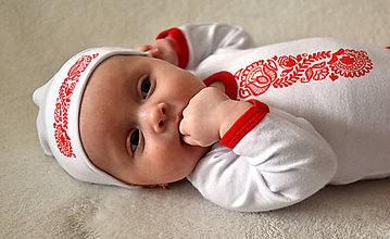 """Detské súpravy - Novorodenecký balíček s ľudovým motívom """"Beliže mi, beli"""" v červenej farbe - 8014718_"""