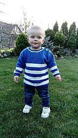 Detské oblečenie - Pulovrík : MODROBIELY pásik