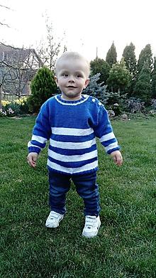 """Detské oblečenie - Pulovrík : MODROBIELY pásik """"pre Malého námorníka"""" - 8014175_"""
