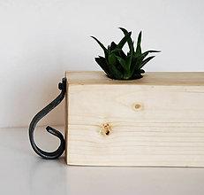 Nádoby - kvetináč drevo/kov - 8011941_