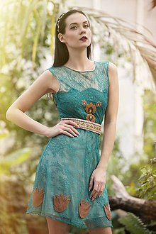 Šaty - Smaragdovo zelené s výšivkou - 8011504_