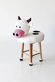 Úžitkový textil - Kravička Emília taburetka - stolička - 8012146_