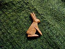 Odznaky/Brošne - Drevená brošňa zajac poľný - 8014011_