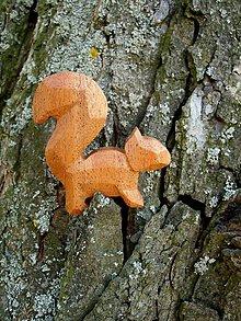 Odznaky/Brošne - Drevená brošňa veverička - 8013982_