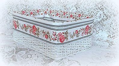 Košíky - Košík v rustikálnom štýle 2 (biela) - 8011731_