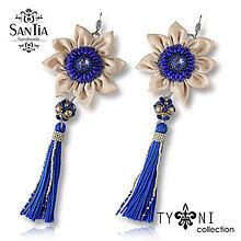 Náušnice - Náušnice: Kvety s dlhými strapcami (Swarovski modro-béžové) - 8011623_