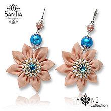 Náušnice - Náušnice obojstranné s visiacimi kvetmi (Swarovski marhuľovo-modré) - 8012310_