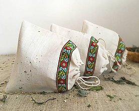 Úžitkový textil - Vrecúško na bylinky z ručne tkaného ľanu - 8010739_