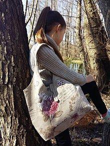 Kabelky - Malá ľanová taška Pivónie - 8014340_