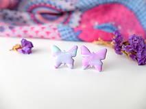 Náušnice - Náušnice Motýle ružovo fialkovo tyrkysové - 8015564_