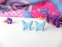 Náušnice - Náušnice Motýle belasé strakaté - 8015569_