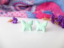 Náušnice - Náušnice Motýle mentolkové - 8015572_