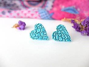 Náušnice - Náušnice srdce tyrkysové mozaika - 8015417_